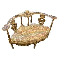 Late 19th Century Lacquered Wood Italian Love Sofa