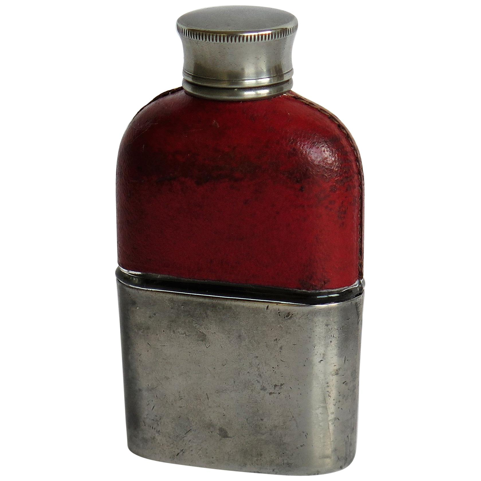 Late 19th Century Ladies Hip Flask Red Leather Glass and Pewter Cup, circa 1890