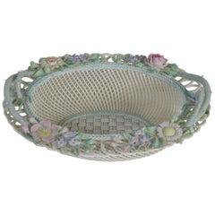Late 19th Century Large Belleek Floral Decorated Porcelain Basket