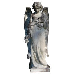 Late 19th Century Large Carved Marble Angel
