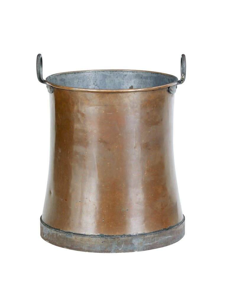 Arts and Crafts Late 19th Century Large Copper Log Bin For Sale