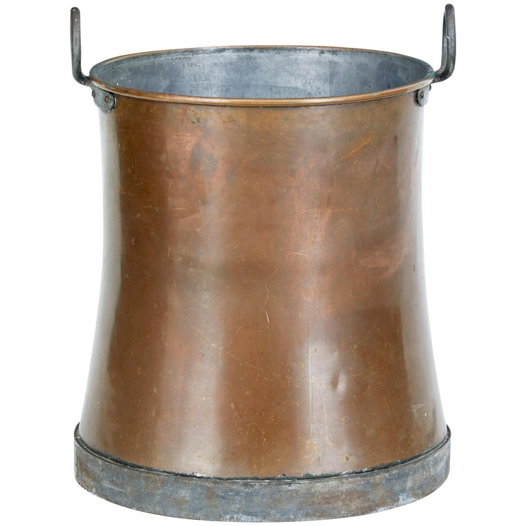 Late 19th Century Large Copper Log Bin For Sale