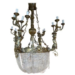Late 19th century large crystal and bronze Spanish Pendant Lamp