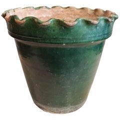 Late 19th Century Large Green Glazed Terracotta Flower Pot
