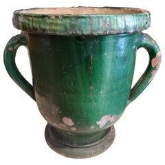Late 19th Century Large Green Glazed Terracotta Flower Pot with Two Handles