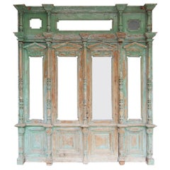 Late 19th Century Large House Front Door Set with Double Door and Window