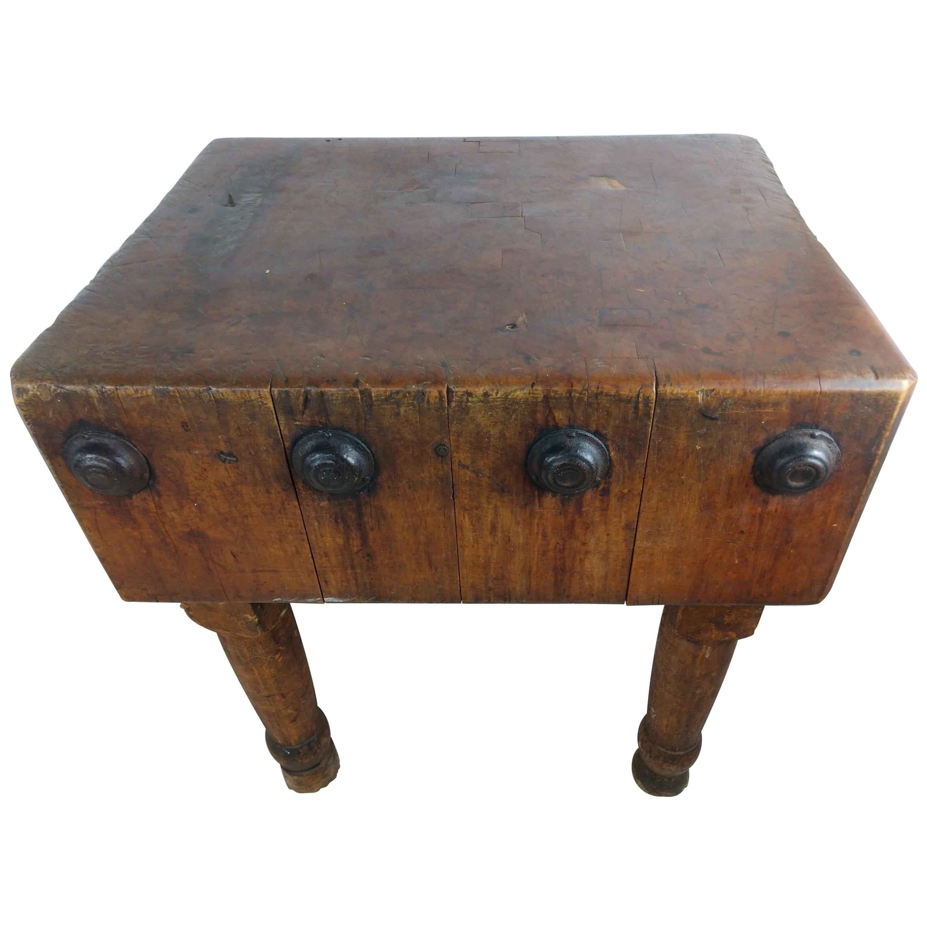 Late 19th Century Large Maple Butcher Block Table