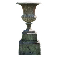 Late 19th Century Large Marble Urn and Stone Plinth