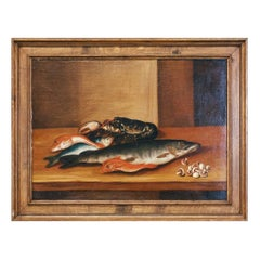 Late 19th Century Large Naive School Still Life Oil on Canvas