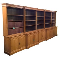 Late 19th Century Large Oak Double Breakfront Library Bookcase