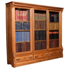 Late 19th Century Large Oak Glazed Bookcase
