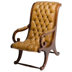 Late 19th Century Leather Armchair, Campaign Style