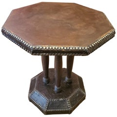 Late 19th Century Leather Octagonal Occasional Table