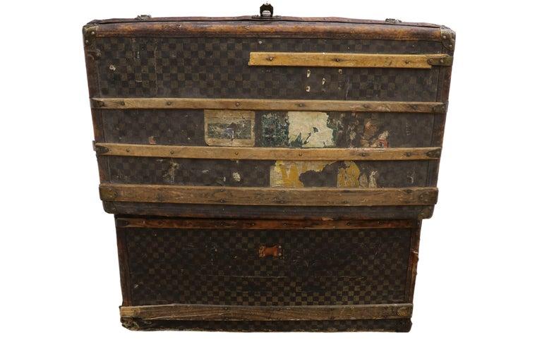 Late 19th Century Louis Vuitton Damier Ebene Canvas Steamer Trunk For Sale 4
