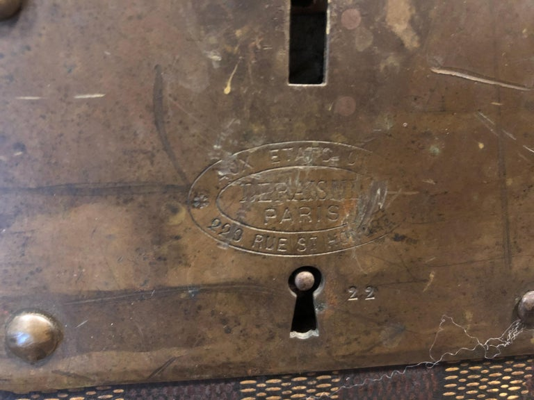 Late 19th Century Louis Vuitton Damier Ebene Canvas Steamer Trunk For Sale 5