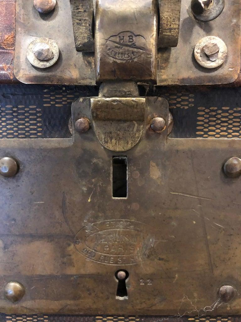 Late 19th Century Louis Vuitton Damier Ebene Canvas Steamer Trunk For Sale 6