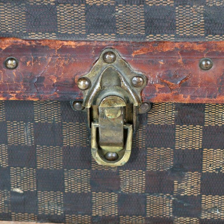 Late 19th Century Louis Vuitton Damier Ebene Canvas Steamer Trunk For Sale 7