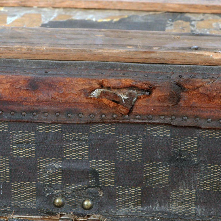 Late 19th Century Louis Vuitton Damier Ebene Canvas Steamer Trunk For Sale 9