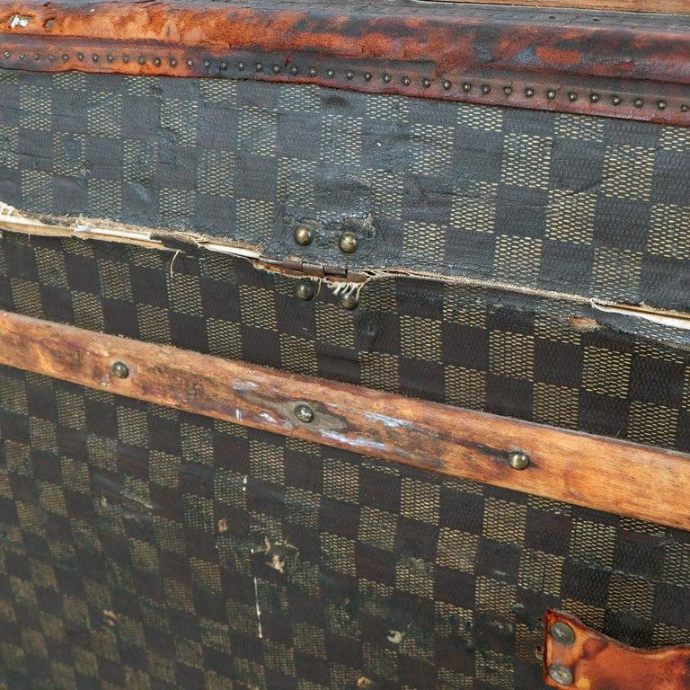 Late 19th Century Louis Vuitton Damier Ebene Canvas Steamer Trunk For Sale 10