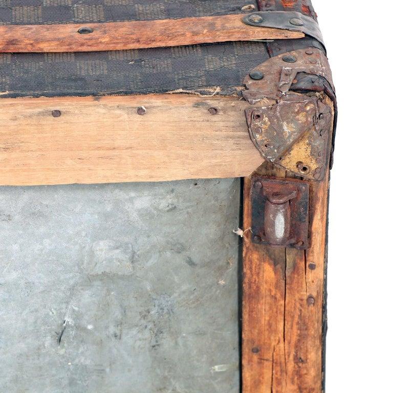 Late 19th Century Louis Vuitton Damier Ebene Canvas Steamer Trunk For Sale 13