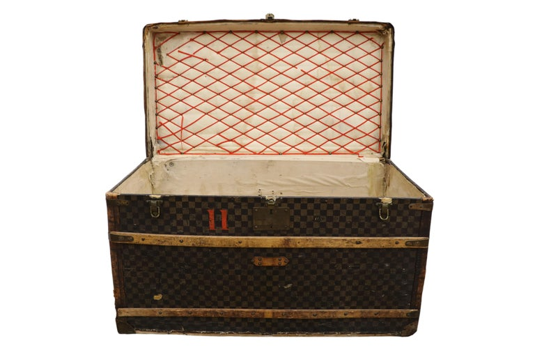 American Colonial Late 19th Century Louis Vuitton Damier Ebene Canvas Steamer Trunk For Sale