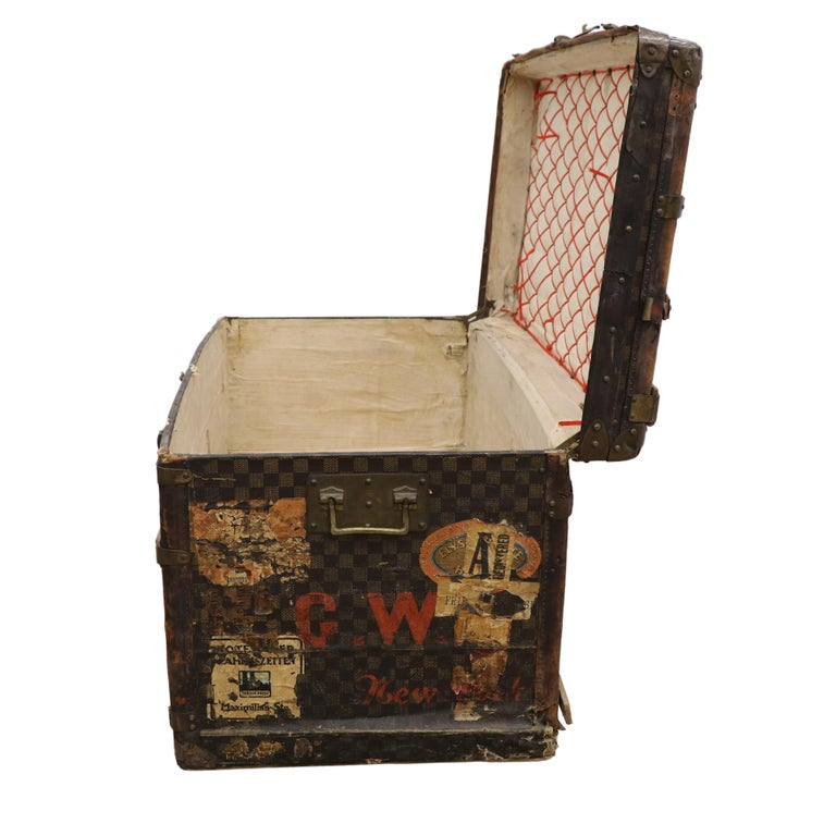 Leather Late 19th Century Louis Vuitton Damier Ebene Canvas Steamer Trunk For Sale