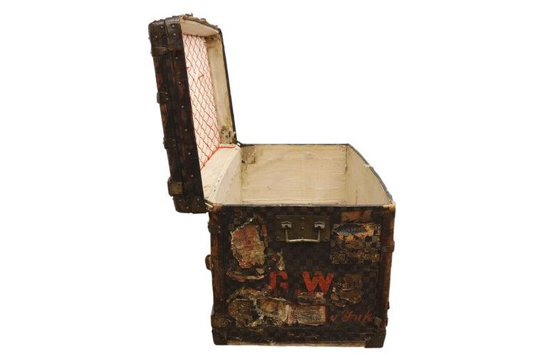 Late 19th Century Louis Vuitton Damier Ebene Canvas Steamer Trunk For Sale 2