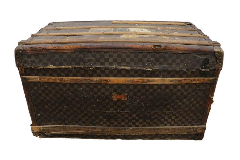 Late 19th Century Louis Vuitton Damier Ebene Canvas Steamer Trunk For Sale 3