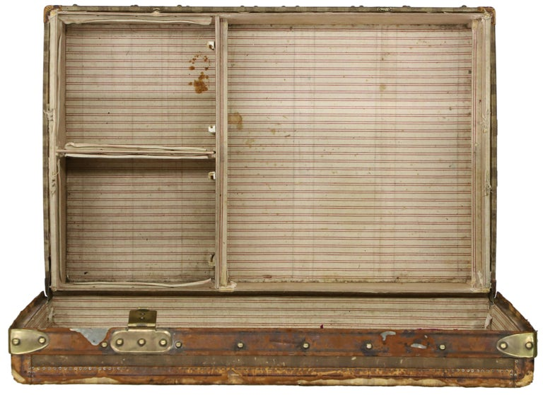 Late 19th Century Louis Vuitton Striped Rayee Canvas Steamer Trunk For Sale 5