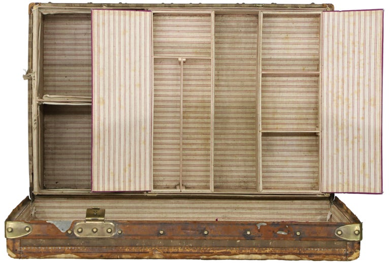 Late 19th Century Louis Vuitton Striped Rayee Canvas Steamer Trunk For Sale 6