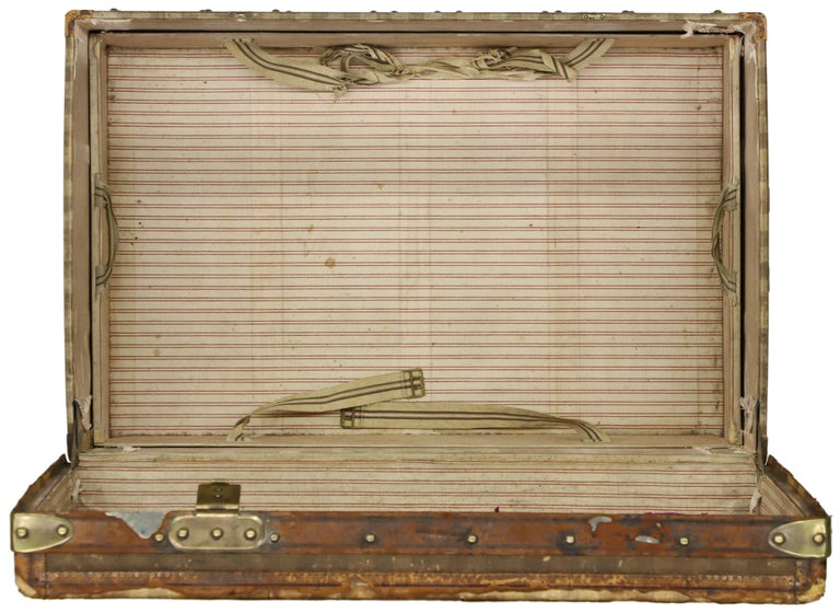 Late 19th Century Louis Vuitton Striped Rayee Canvas Steamer Trunk For Sale 7