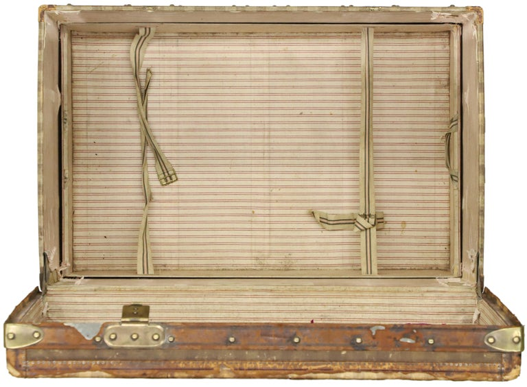 Late 19th Century Louis Vuitton Striped Rayee Canvas Steamer Trunk For Sale 8