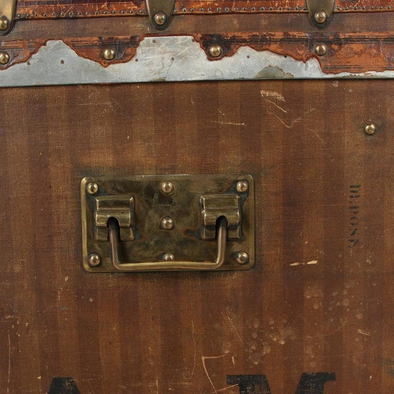 Late 19th Century Louis Vuitton Striped Rayee Canvas Steamer Trunk For Sale 9