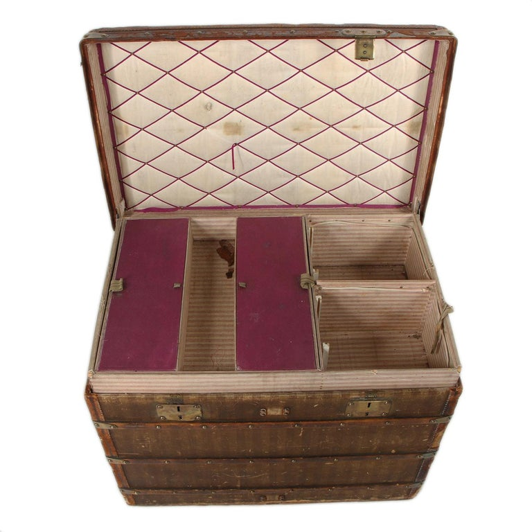 French Late 19th Century Louis Vuitton Striped Rayee Canvas Steamer Trunk For Sale