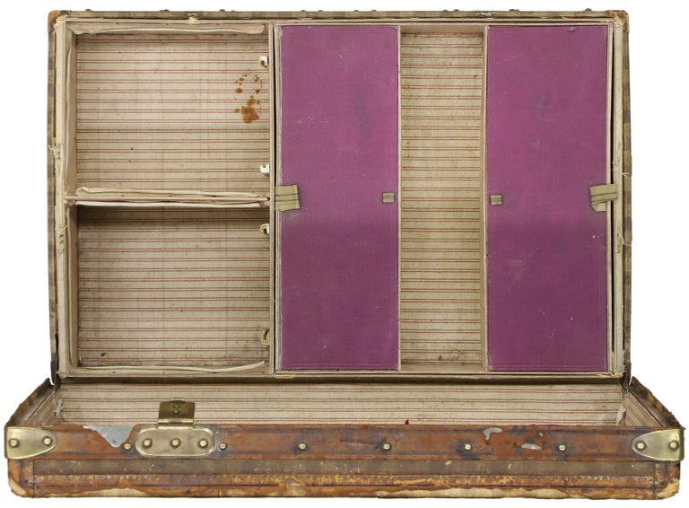 Late 19th Century Louis Vuitton Striped Rayee Canvas Steamer Trunk For Sale 3