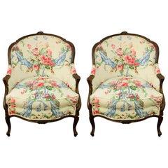 Late 19th Century Louis XV French Bergère Chair, a Pair