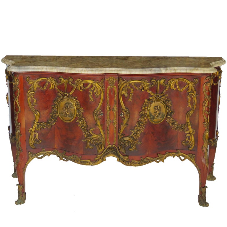 Late 19th Century Louis XV Style Bronze-Mounted Mahogany Commode