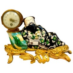 Late 19th Century Louis XV-Style Chinese Porcelain and Gilt Bronze Desk Clock