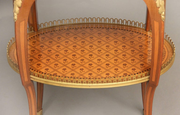 Belle Époque Late 19th Century Louis XV Style Gilt Bronze-Mounted Marquetry Lamp Table For Sale