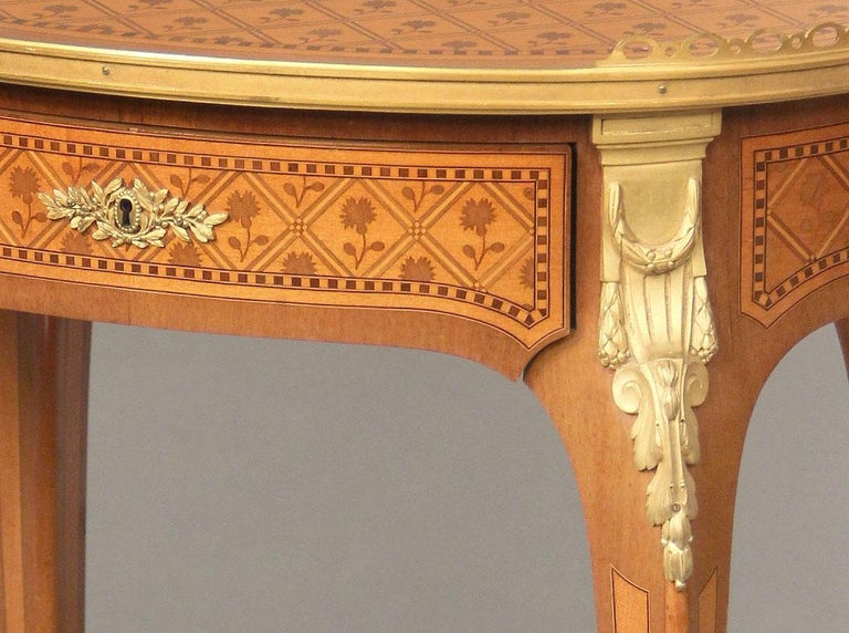 French Late 19th Century Louis XV Style Gilt Bronze-Mounted Marquetry Lamp Table For Sale