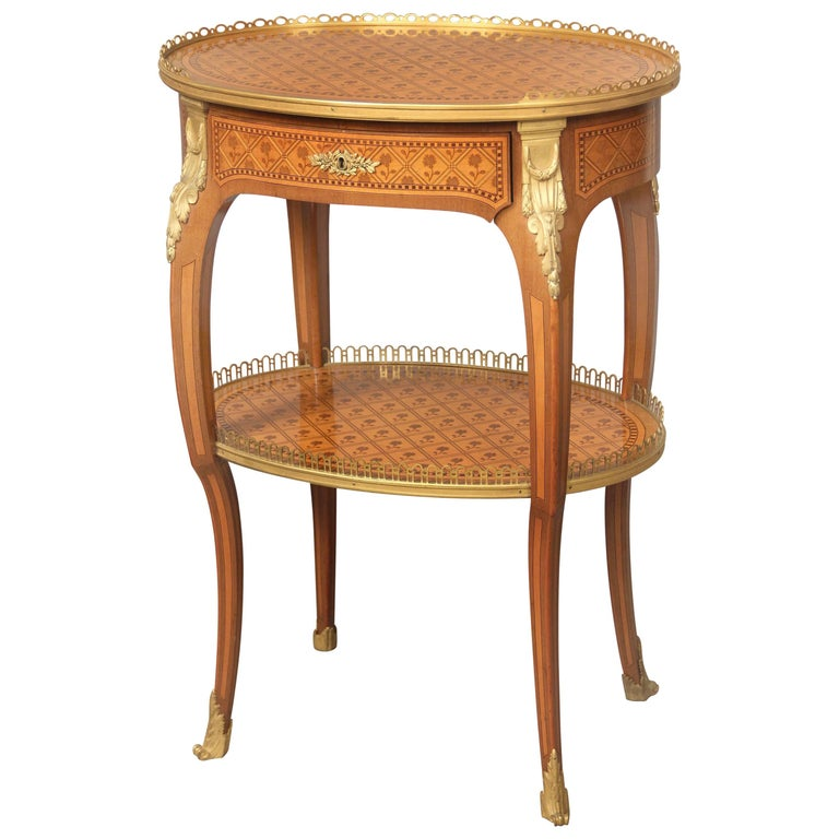 Late 19th Century Louis XV Style Gilt Bronze-Mounted Marquetry Lamp Table For Sale