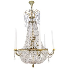 Late 19th Century Louis XVI Style Brass and Crystal Basket Chandelier