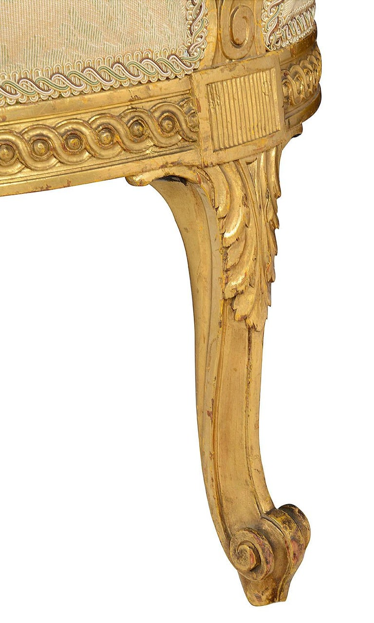 Late 19th Century Louis XVI Style Giltwood Sofa For Sale 5