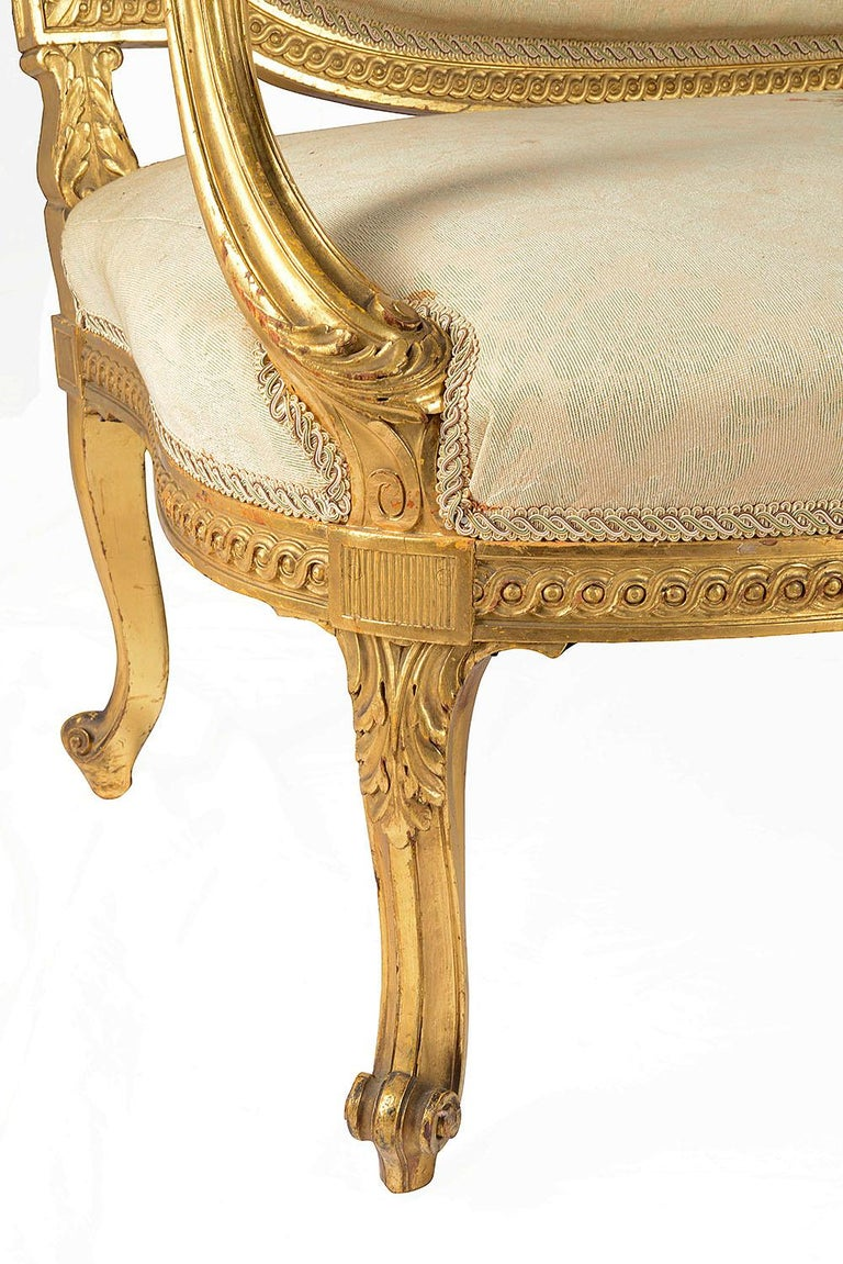 Late 19th Century Louis XVI Style Giltwood Sofa For Sale 1