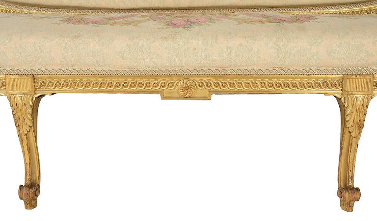 Late 19th Century Louis XVI Style Giltwood Sofa For Sale 4