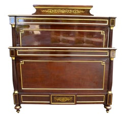 Late 19th Century Louis XVI Style Mahogany and Inlaid Brass Bed