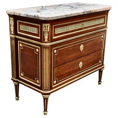 Late 19th Century Louis XVI Marble-Top Mahogany Commode in Style of Paul Sormani