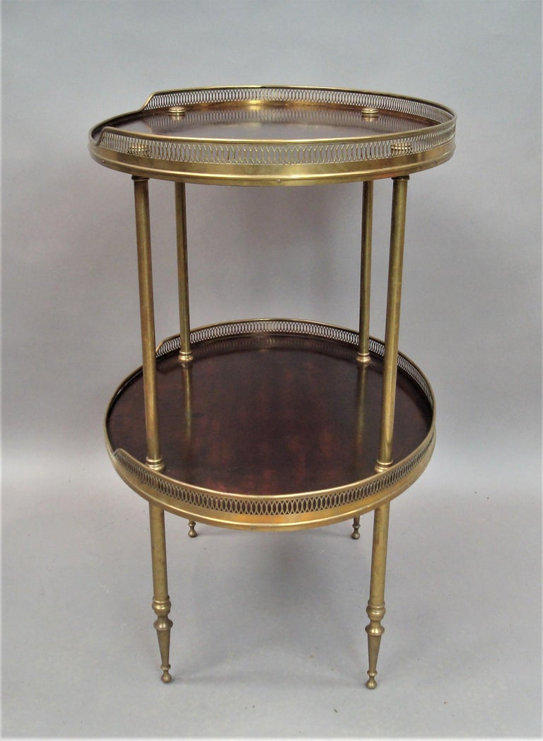 Polished Late 19th Century Mahogany and Brass Oval Étagère  For Sale
