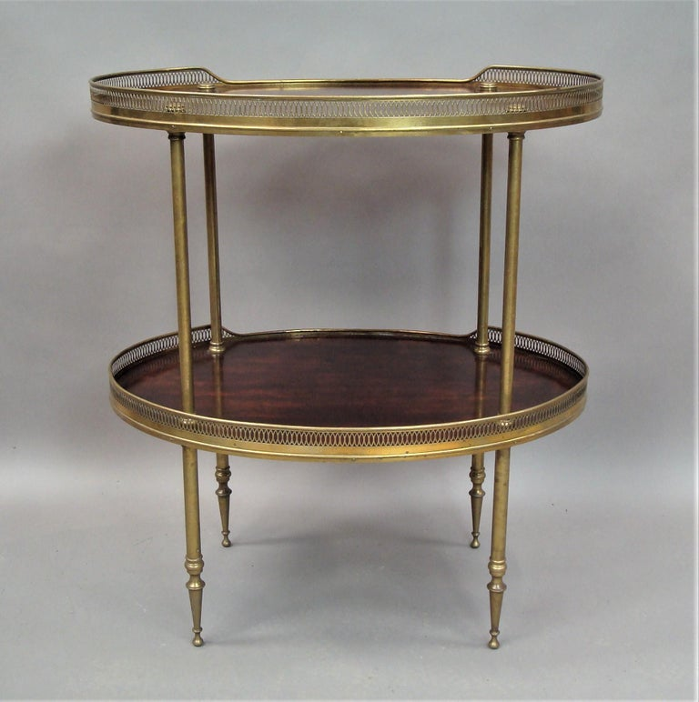Late 19th Century Mahogany and Brass Oval Étagère  For Sale 1