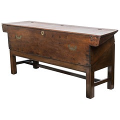 Late 19th Century Mahogany Bench / Boat's Map Box on Stand